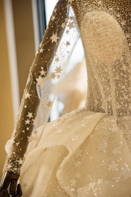 Chicloh Long Sleeve Beading Lace-up Tulle Wedding Dress_7