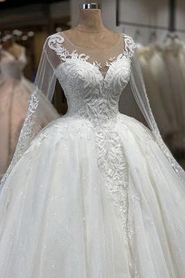 Chicloh Elegant Long Sleeve Ball Gown Tulle Wedding Dress_4