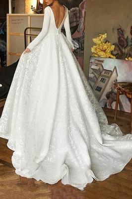 Chicloth Elegant Long Sleeve V-neck Satin Wedding Dress_3