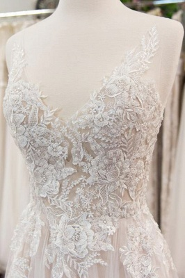 Chicloth Chic V-neck Appliques Tulle A-line Wedding Dress_3