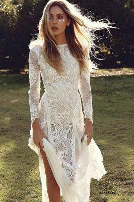 Chicloth Elegant Long Sleeve Lace Sheath Wedding Dress_1