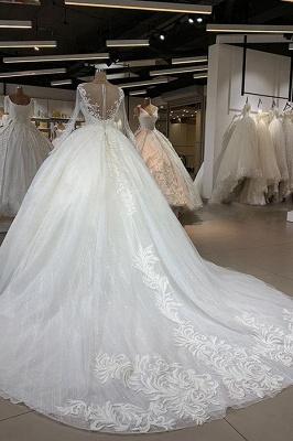 Chicloh Elegant Long Sleeve Ball Gown Tulle Wedding Dress_3
