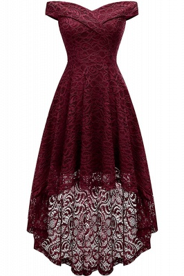 Vintage Floral Lace Off Shoulder Hi-Lo Formal Swing Dress