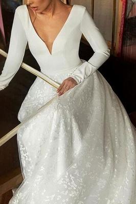 Chicloth Elegant Long Sleeve V-neck Satin Wedding Dress_4