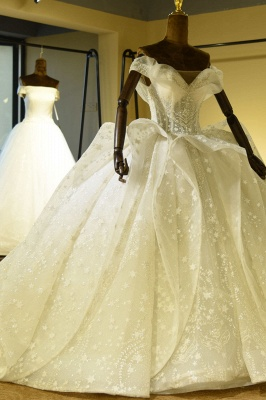 Chicloh Eye-catching Lace-up Tulle Ball Gown Wedding Dress_3