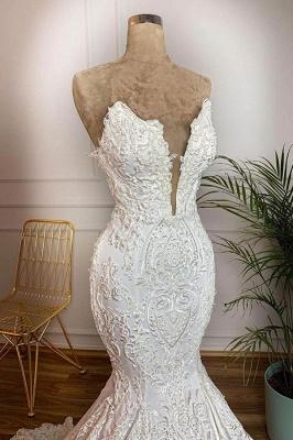 Chicloh Strapless Appliques Satin Mermaid Wedding Dress_3