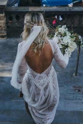 Chicloth Elegant Long Sleeve Lace Sheath Wedding Dress_4