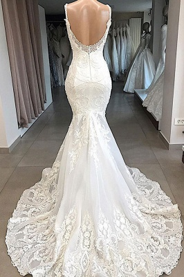 Chicloh Amazing Appliques Tulle Mermaid Wedding Dress_3