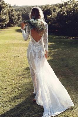 Chicloth Elegant Long Sleeve Lace Sheath Wedding Dress_3