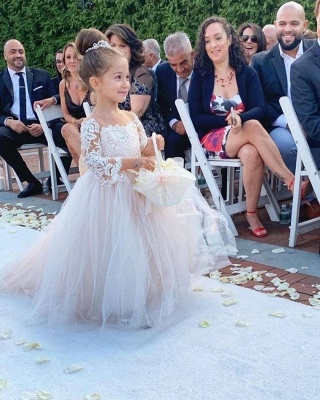 Princess Jewel Long Sleeves Lace Tulle Flower Girl Dresses with Bowknot_4