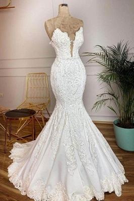 Chicloh Strapless Appliques Satin Mermaid Wedding Dress_1