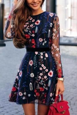 B  Chicloth Floral Embroidery Sheer Mesh Summer Bohemian Mini Dress_2