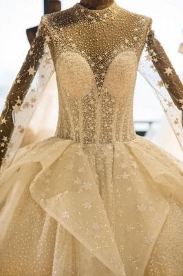 Chicloh Long Sleeve Beading Lace-up Tulle Wedding Dress_5