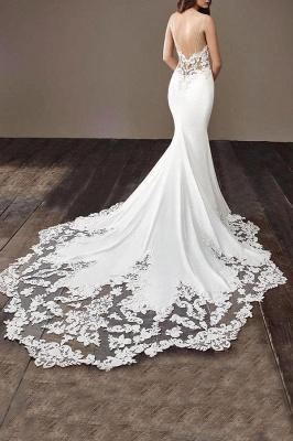 Chicloth Precious Spaghetti Strap Lace Mermaid Wedding Dress_4