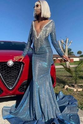 Luxurious Mermaid Sequins Long Sleeves Sheer Neckline Prom Dress_3