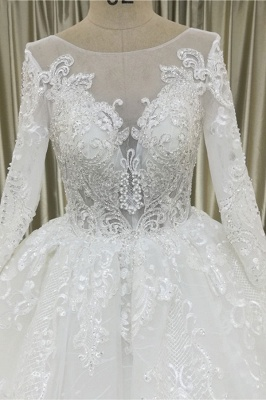 Chicloth Vintage Appliques Long Sleeve Tulle Wedding Dress_4