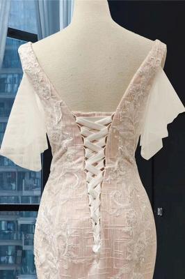 Chicloth V-Neck Short Sleeve Appliques Mermaid Wedding Dress_5