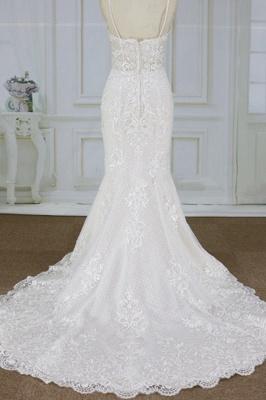 Chicloth Spaghetti Strap Appliques Mermaid Wedding Dress_3