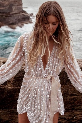 Sequin Surpliced Wrap Deep V Neck Party Mini Dress_4