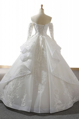 Chicloth Lace-up Off Shoulder Long Sleeve Tulle Wedding Dress_3