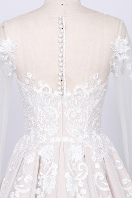 Chicloth Long Sleeve Appliques Tulle A-line Wedding Dress_4