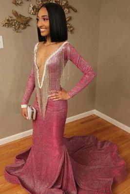Luxurious Mermaid Sequins Long Sleeves Sheer Neckline Prom Dress_5
