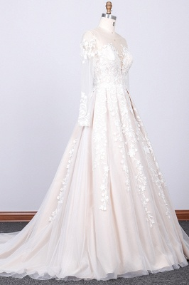 Chicloth Long Sleeve Appliques Tulle A-line Wedding Dress_3