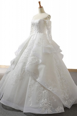 Chicloth Lace-up Off Shoulder Long Sleeve Tulle Wedding Dress_4