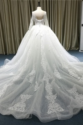 Chicloth Vintage Appliques Long Sleeve Tulle Wedding Dress_3
