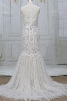 Chicloth Amazing Appliques Tulle Mermaid Wedding Dress_3