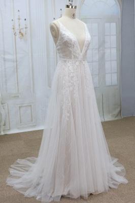 Chicloth Spaghetti Strap V-neck Lace Tulle Wedding Dress_4
