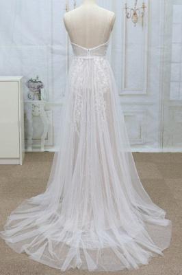 Chicloth Spaghetti Strap V-neck Lace Tulle Wedding Dress_3