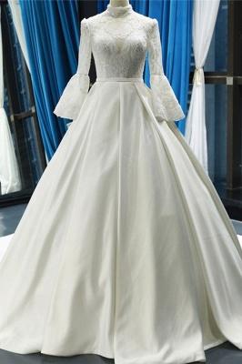 Chicloth Elegant High Neck Long Sleeve Satin Wedding Dresses_1