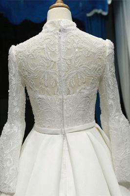 Chicloth Elegant High Neck Long Sleeve Satin Wedding Dresses_6