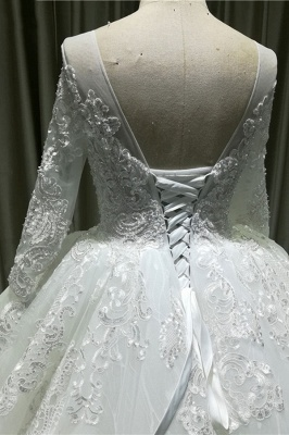 Chicloth Vintage Appliques Long Sleeve Tulle Wedding Dress_5