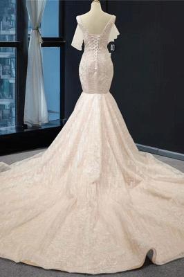 Chicloth V-Neck Short Sleeve Appliques Mermaid Wedding Dress_3