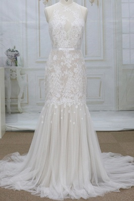 Chicloth Amazing Appliques Tulle Mermaid Wedding Dress_1