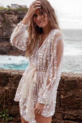 Sequin Surpliced Wrap Deep V Neck Party Mini Dress_6