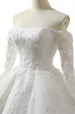 Chicloth Lace-up Off Shoulder Long Sleeve Tulle Wedding Dress_6