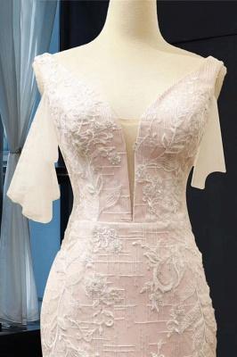 Chicloth V-Neck Short Sleeve Appliques Mermaid Wedding Dress_4