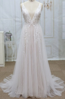 Chicloth Spaghetti Strap V-neck Lace Tulle Wedding Dress_1
