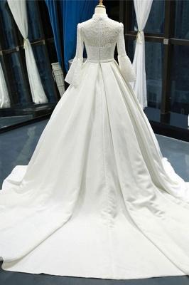 Chicloth Elegant High Neck Long Sleeve Satin Wedding Dresses_3