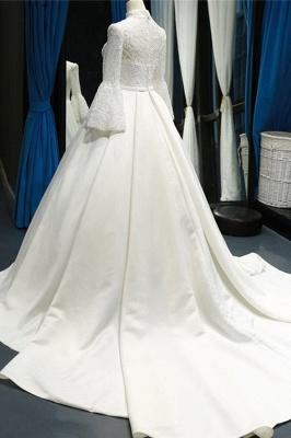 Chicloth Elegant High Neck Long Sleeve Satin Wedding Dresses_4