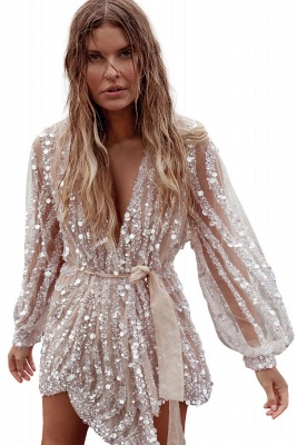 Sequin Surpliced Wrap Deep V Neck Party Mini Dress_2