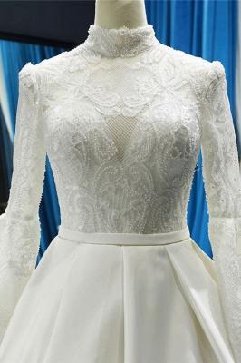 Chicloth Elegant High Neck Long Sleeve Satin Wedding Dresses_5