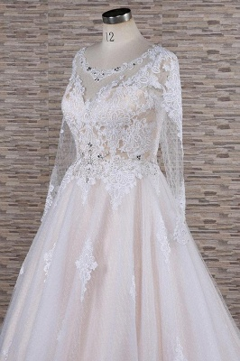 Chicloth Illusion Appliques Long Sleeve Tulle Wedding Dress_6