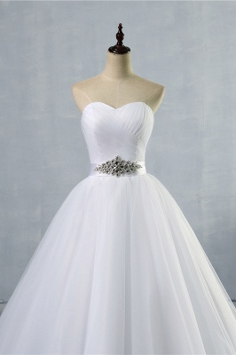 Chicloth Simple Ruffle Strapless Tulle A-line Wedding Dress_3