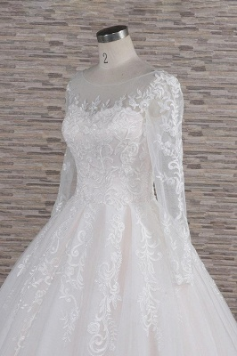 Chicloth Graceful Appliques Long Sleeve A-line Wedding Dress_6