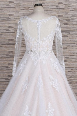 Chicloth Illusion Appliques Long Sleeve Tulle Wedding Dress_7