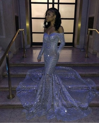 Mermaid Sweetheart Strapless Sequins Long Prom Dresses with Sleeves_2